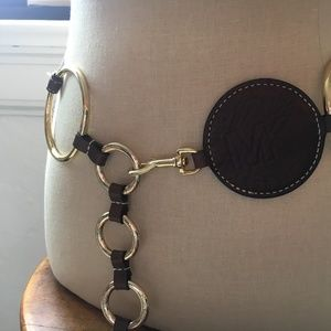 MK Michael Kors snap hook belt leather gold rings